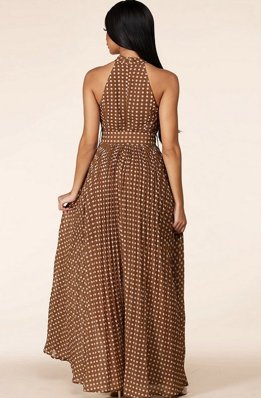 Mocha Polka Dot Mock Neck Sleeveless Belted Maxi Dress 3