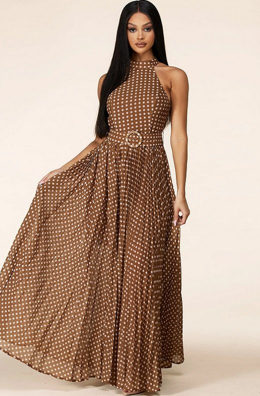 Mocha Polka Dot Mock Neck Sleeveless Belted Maxi Dress 6
