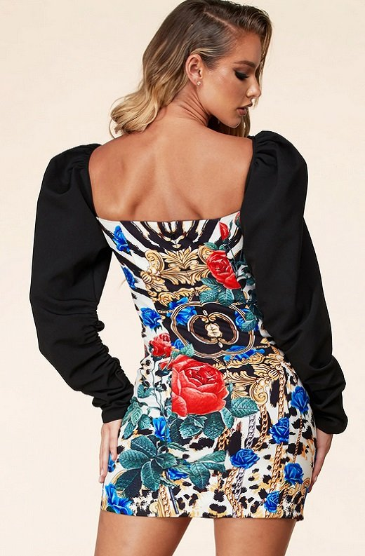 Multi Color Animal Print Bodycon Puff Shoulder Dress 3