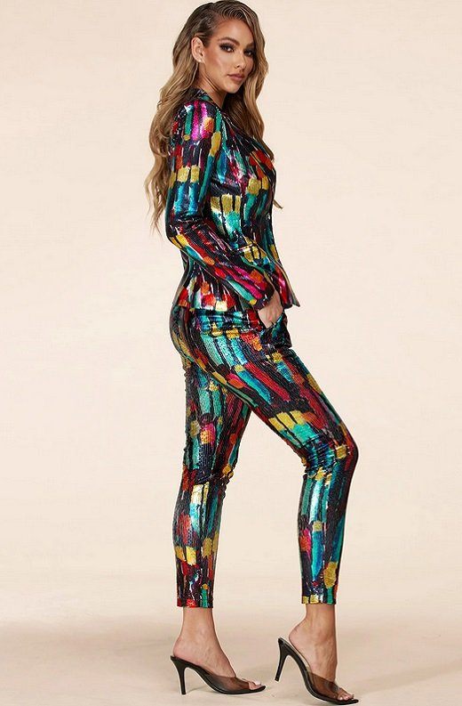 Multi Color Metallic Sequined Abstract Pants Suit 3