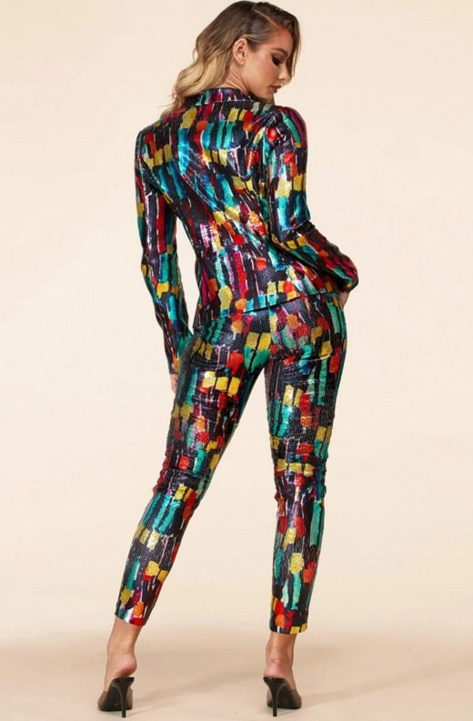 Multi Color Metallic Sequined Abstract Pants Suit 4