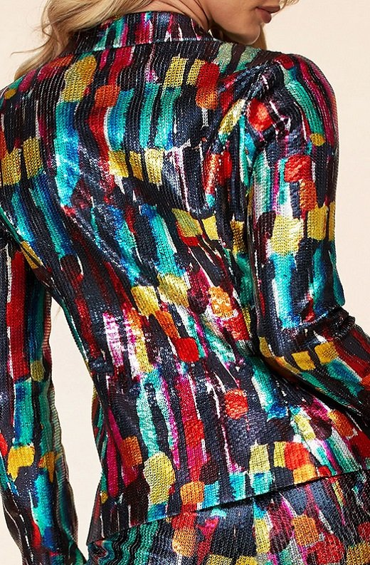 Multi Color Metallic Sequined Abstract Pants Suit 6