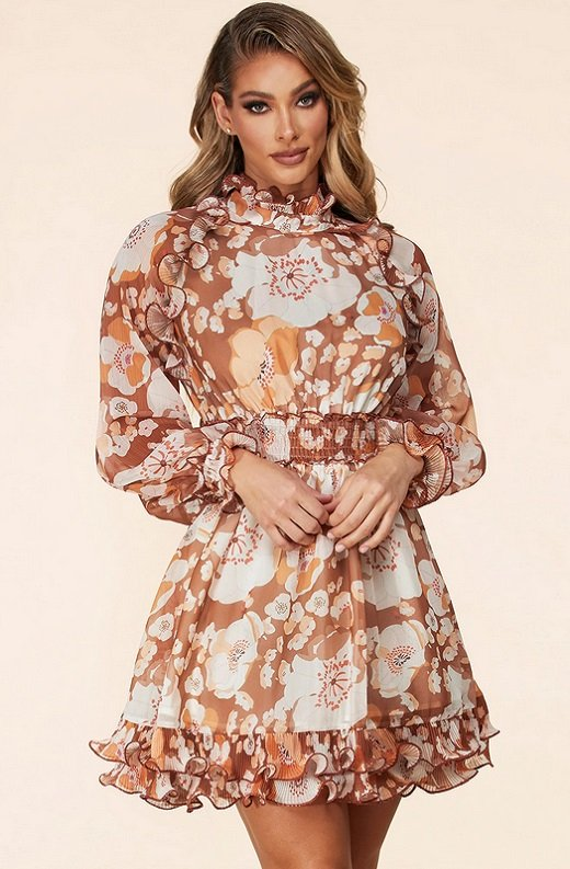 Taupe Floral Print Ruched Mock Neck Ruffle Dress 1