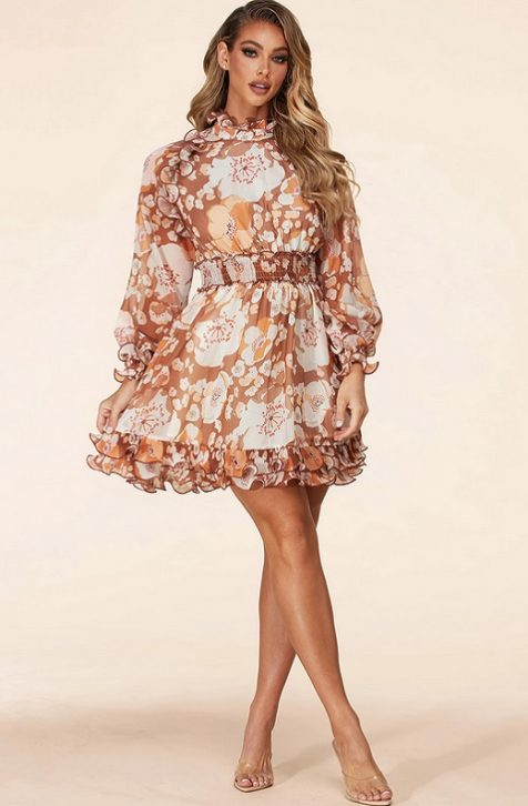 Hot Floral Print Short Dress