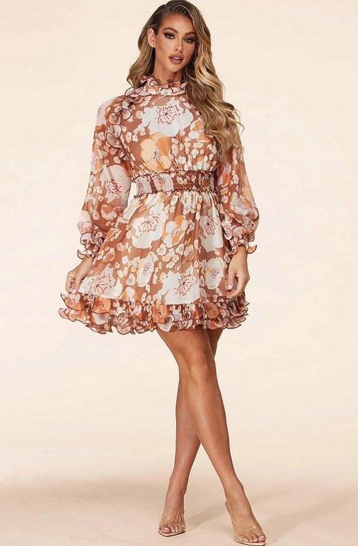 Hot Floral Print Short Dress