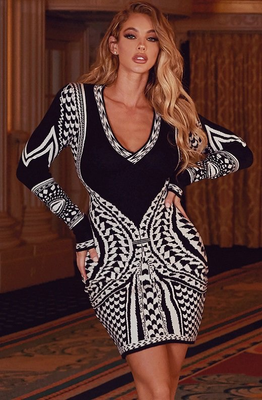 Black White Victorian Bodycon Soft Sweater Knit Dress 1