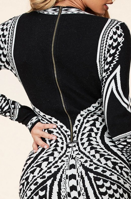 Black White Victorian Bodycon Soft Sweater Knit Dress 6