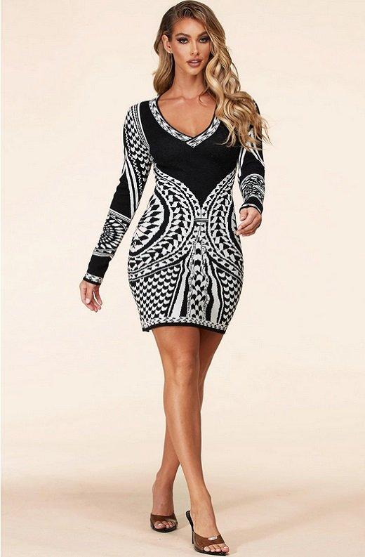 Black White Victorian Bodycon Soft Sweater Knit Dress 7