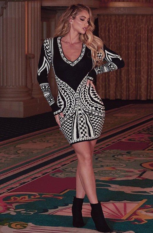 Black White Victorian Bodycon Soft Sweater Knit Dress 8