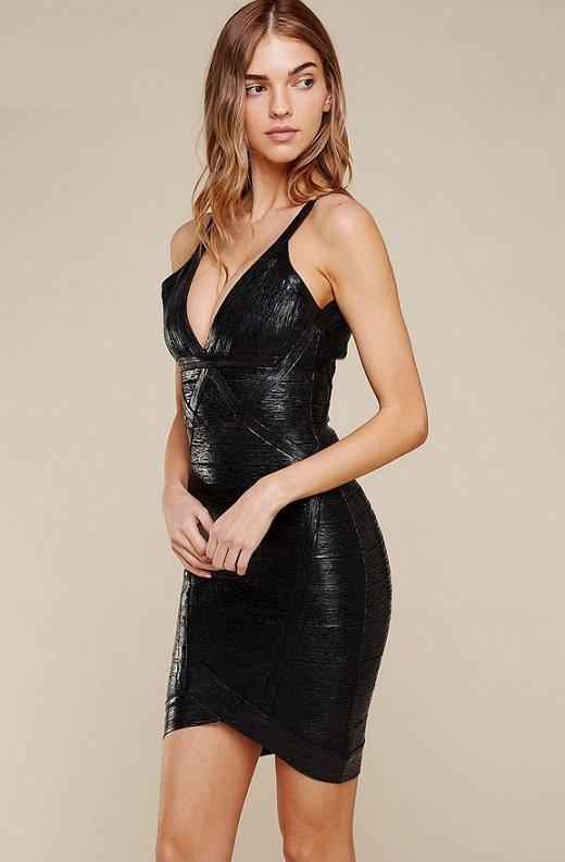 Black Foil Sleeveless Midi Bandage Dress 1