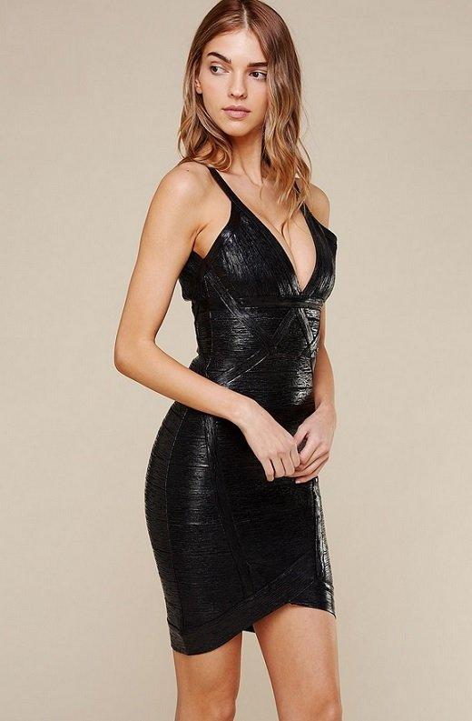 Black Foil Sleeveless Midi Bandage Dress 2