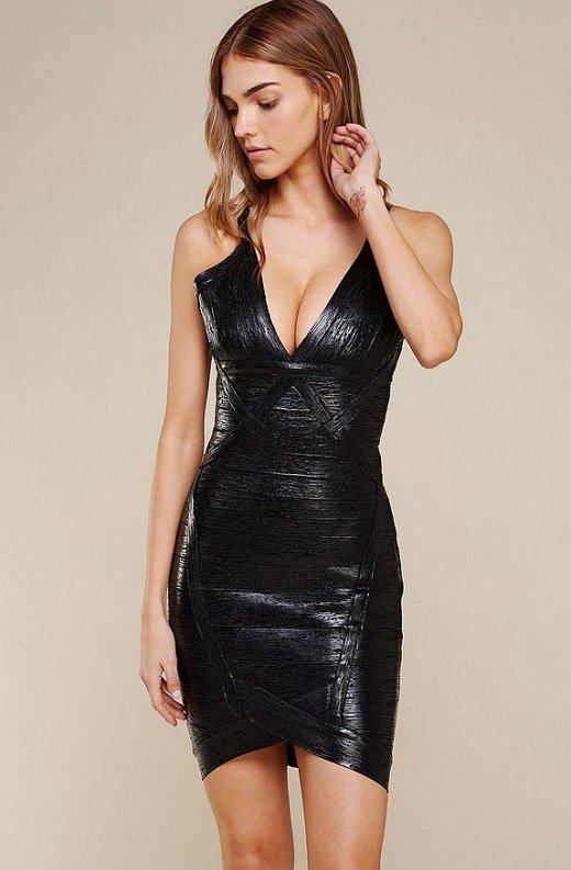 Black Foil Sleeveless Midi Bandage Dress 3