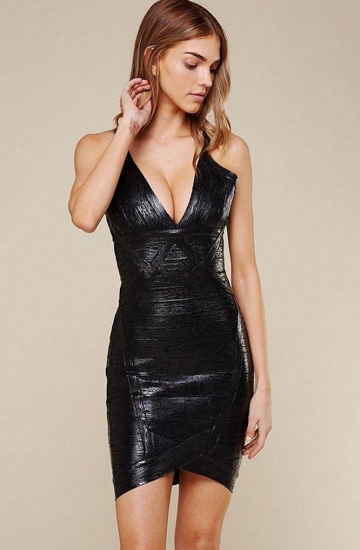 Black Foil Sleeveless Midi Bandage Dress 4