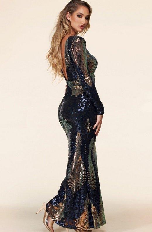 Black Iridescent Sequins Long Sleeves Hourglass Maxi Dress 2 - kopie