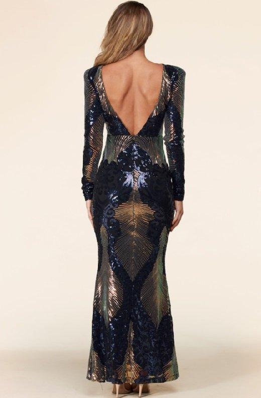 Black Iridescent Sequins Long Sleeves Hourglass Maxi Dress 3 - kopie