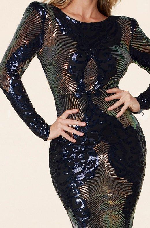 Black Iridescent Sequins Long Sleeves Hourglass Maxi Dress 4 - kopie