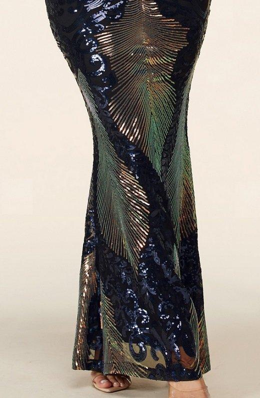 Black Iridescent Sequins Long Sleeves Hourglass Maxi Dress 6 - kopie