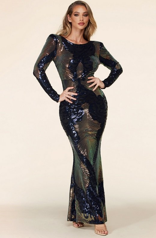 Black Iridescent Sequins Long Sleeves Hourglass Maxi Dress 8
