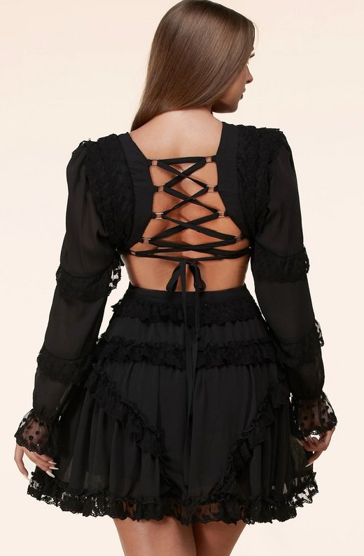 Black Lace Ruffle V Neck Open Back Dress 1