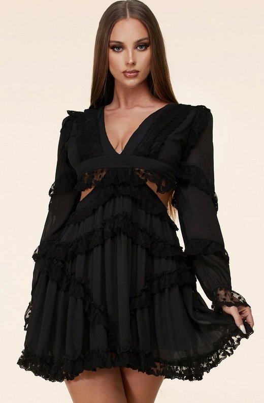 Black Lace Ruffle V Neck Open Back Dress 3
