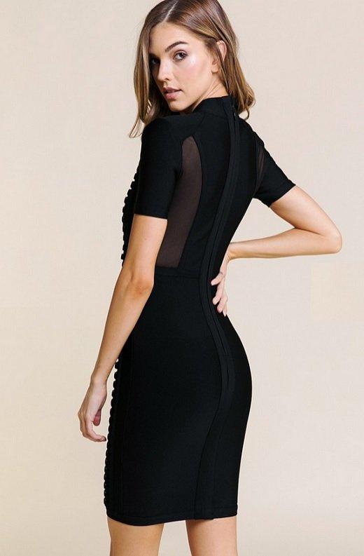 Black Mesh Short Sleeve Chain Mini Bandage Dress 1