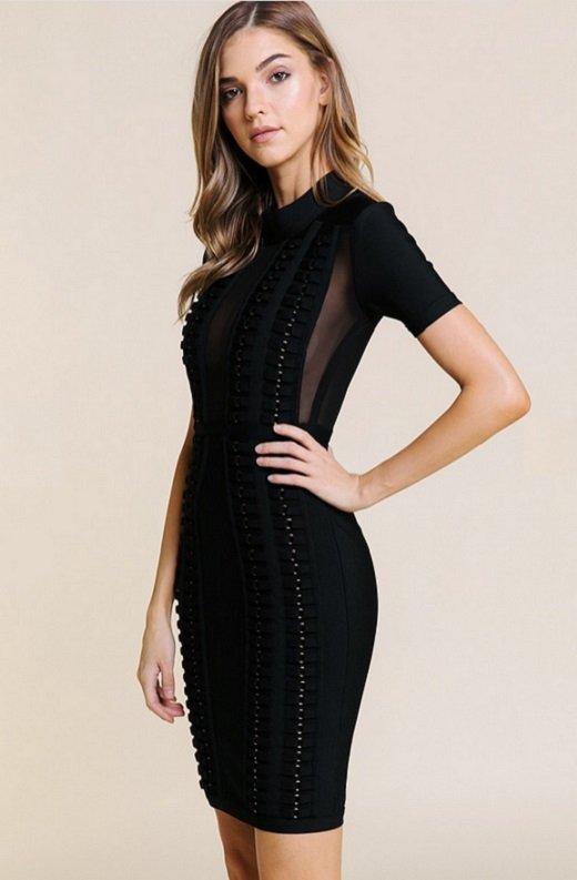 Black Mesh Short Sleeve Chain Mini Bandage Dress 2