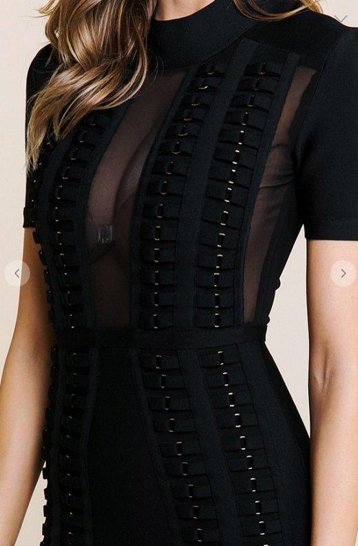 Black Mesh Short Sleeve Chain Mini Bandage Dress 3