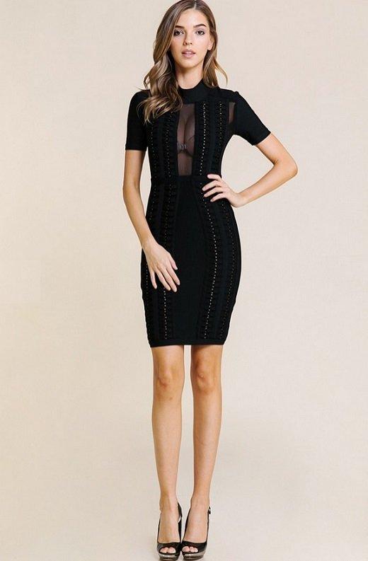 Black Mesh Short Sleeve Chain Mini Bandage Dress 4