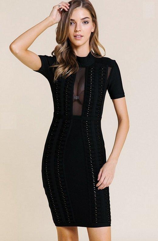 Black Mesh Short Sleeve Chain Mini Bandage Dress 5