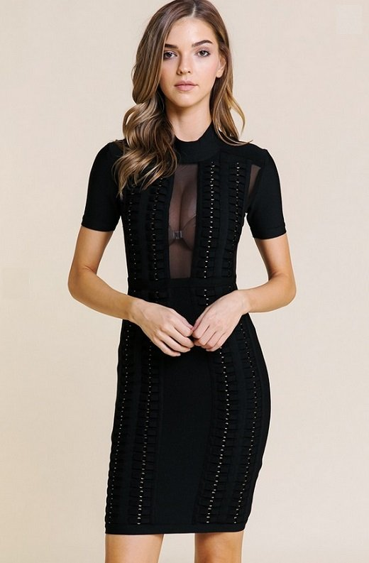 Black Mesh Short Sleeve Chain Mini Bandage Dress 6