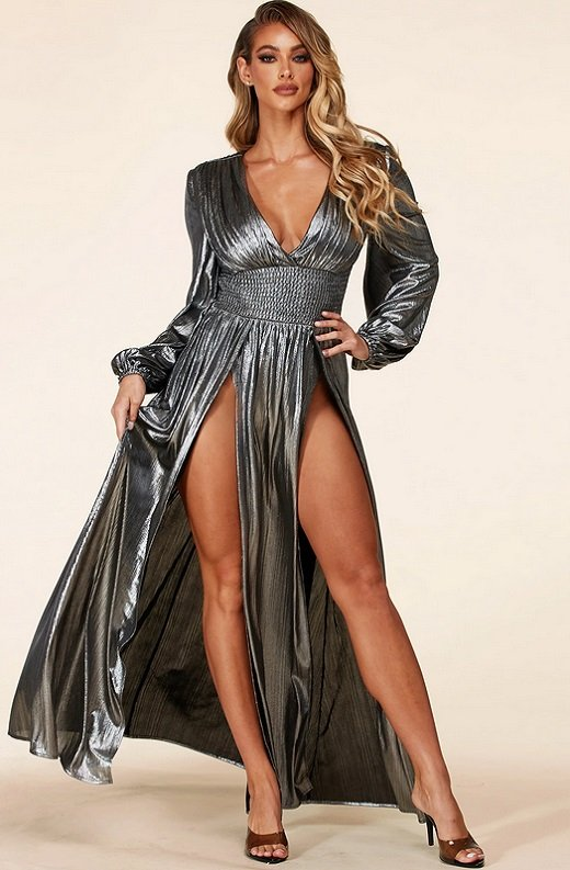 Black Silver Iridescent Rhinestones Waist Belted Maxi Dress 2