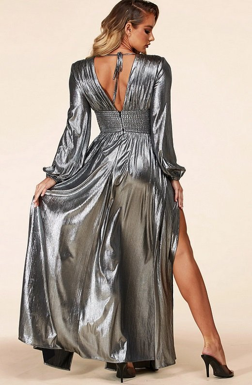 Black Silver Iridescent Rhinestones Waist Belted Maxi Dress 4