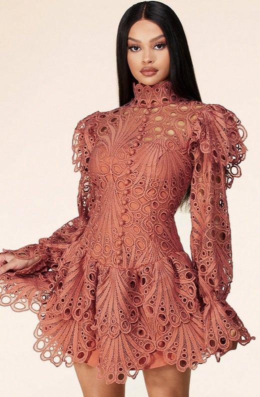 Dusty Rose Mock Neck Long Sleeves Crochet Dress 1