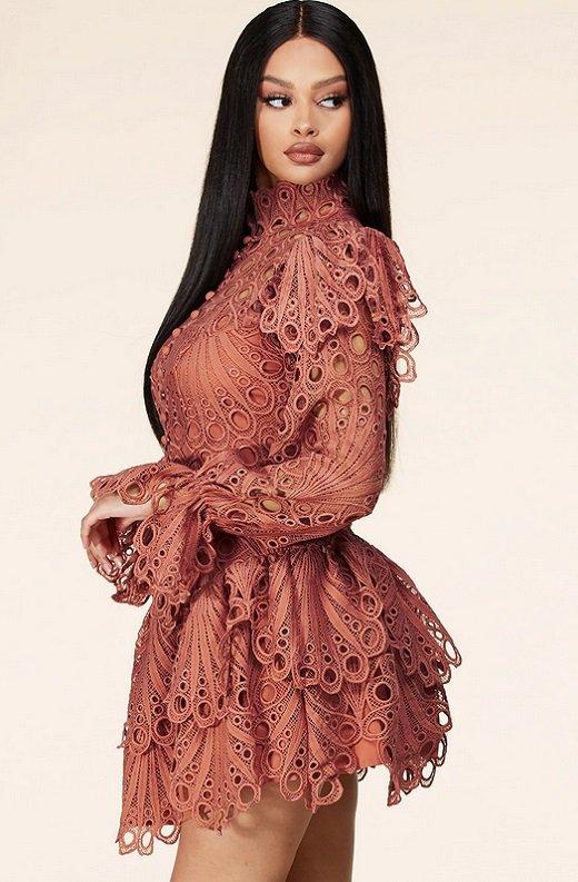 Dusty Rose Mock Neck Long Sleeves Crochet Dress 2