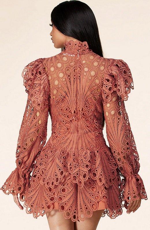 Dusty Rose Mock Neck Long Sleeves Crochet Dress 3