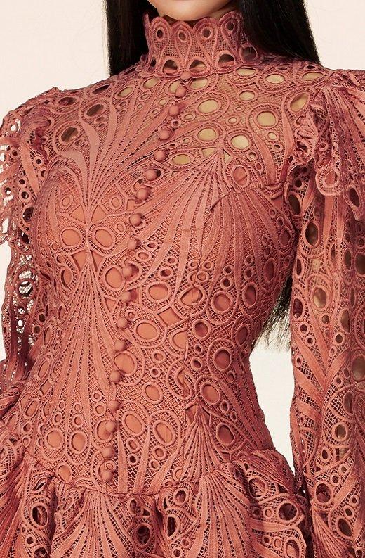 Dusty Rose Mock Neck Long Sleeves Crochet Dress 4