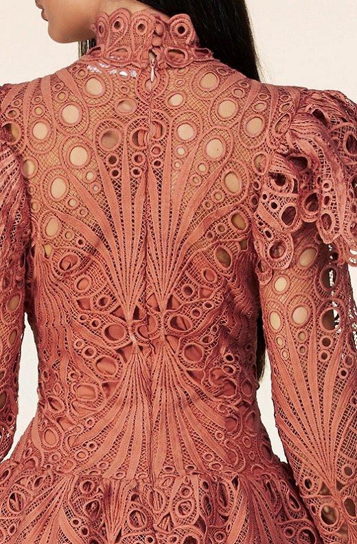 Dusty Rose Mock Neck Long Sleeves Crochet Dress 5