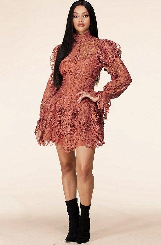 Dusty Rose Mock Neck Long Sleeves Crochet Dress 6