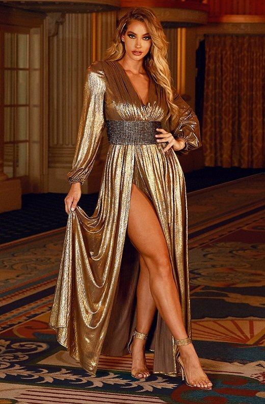 Gold Metallic Iridescent Rhinestones Waist Belted Maxi Dress 1