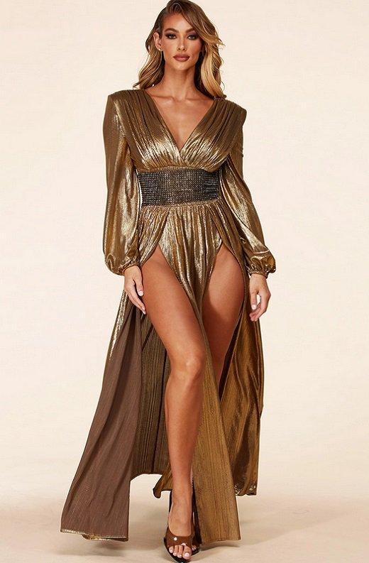 Gold Metallic Iridescent Rhinestones Waist Belted Maxi Dress 2