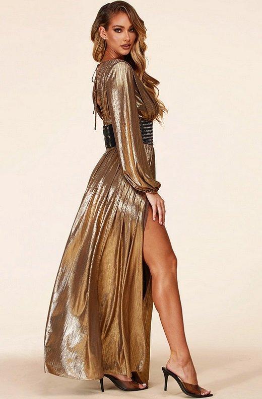 Gold Metallic Iridescent Rhinestones Waist Belted Maxi Dress 3