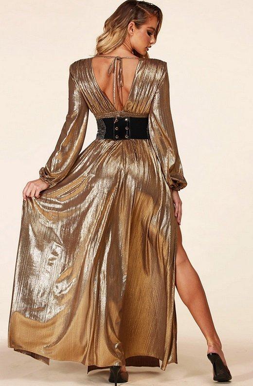 Gold Metallic Iridescent Rhinestones Waist Belted Maxi Dress 4