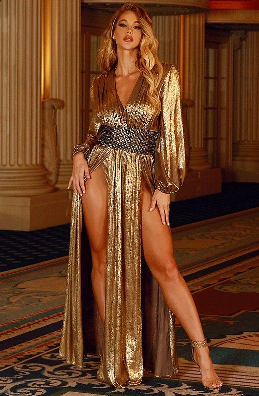 Gold Metallic Iridescent Rhinestones Waist Belted Maxi Dress 7