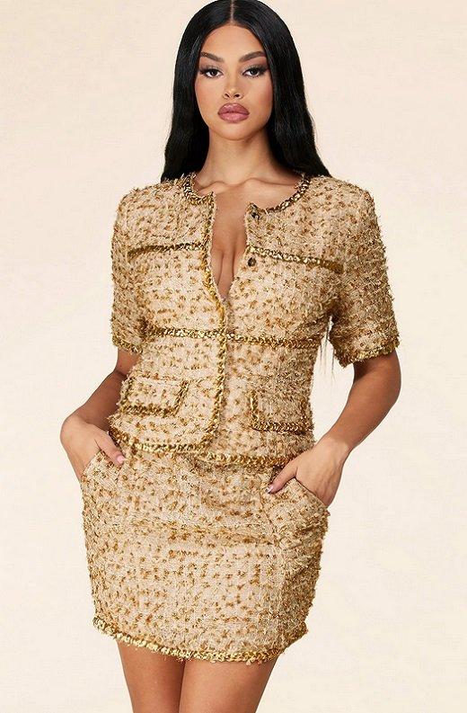 Gold Thread Braided Fringe Mini Skirt Two Piece Set 2