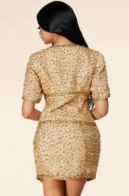 Gold Thread Braided Fringe Mini Skirt Two Piece Set 4