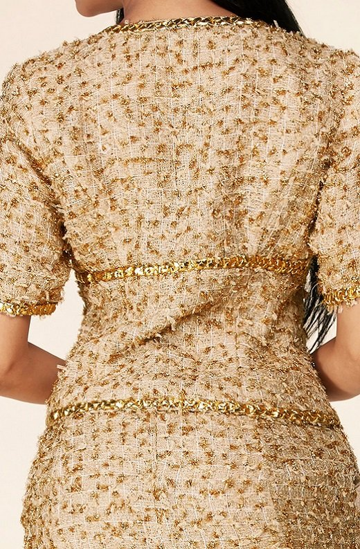 Gold Thread Braided Fringe Mini Skirt Two Piece Set 6