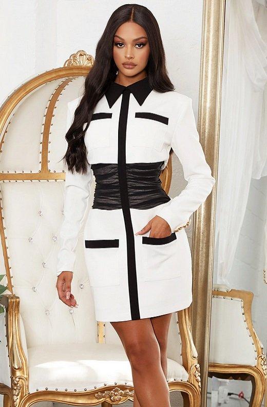 White Color Block High Mesh Contour Waist Blazer Dress 1