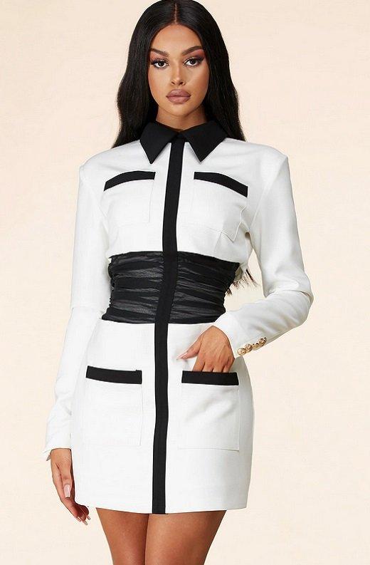 White Color Block High Mesh Contour Waist Blazer Dress 2