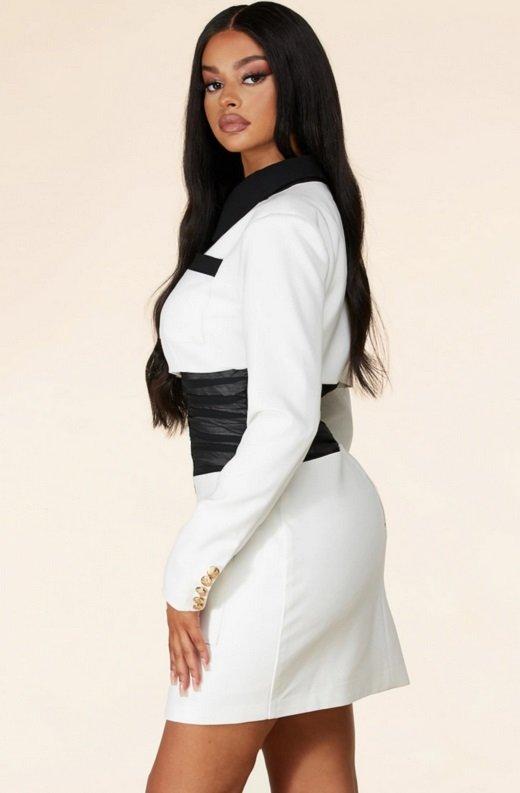 White Color Block High Mesh Contour Waist Blazer Dress 3
