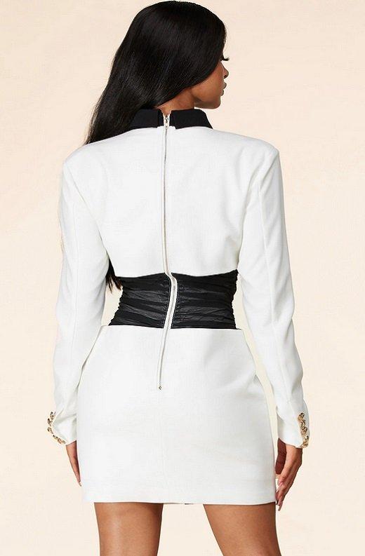 White Color Block High Mesh Contour Waist Blazer Dress 4